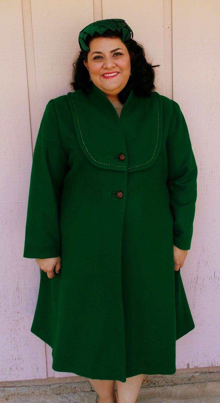 Decades of Style 1940's Claremont Coat in green wool melton coating