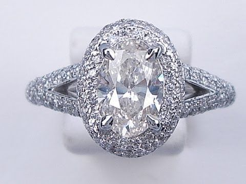 1.87 CTW OVAL CUT DIAMOND ENGAGEMENT RING J SI2