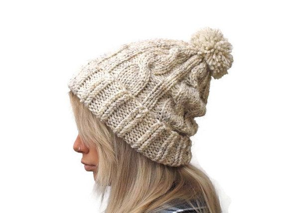 Pom Pom Hat Knit Beanie hat Gift for her oatmeal hat by PepperKnit