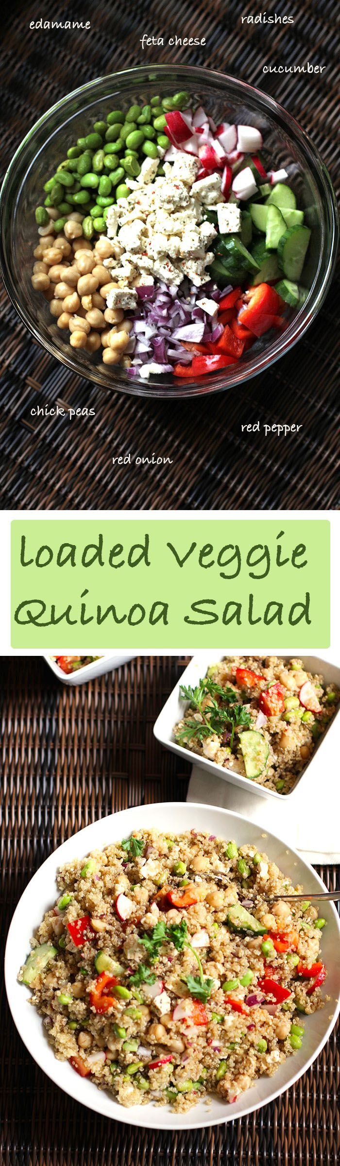 A delicious and hearty quinoa salad, packed with protein and veggies. SUPER food to the max!!