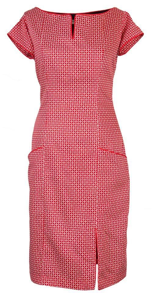 ELEGANT DRESS IN ORGANIC COTTON http://www.ecouture.com/connie-red.html?___store=gb&___from_store=gb  Connie - Red The dress is made from 100% organic, cotton [GOTS-certified] with an elasticated panel at the back and side zipper to make it more flexible. The dress has fine details such as puckets, edging and neckline with fine piping. The dress is lined with a very comfortable bamboo-silk.
