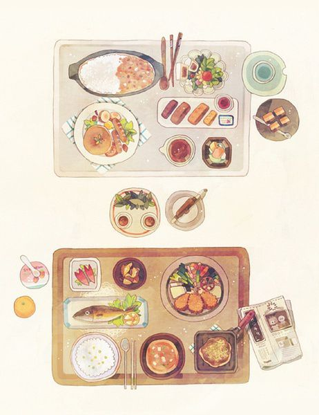 Japanese watercolor illustration - set meals