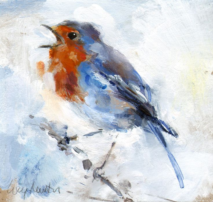 """Saatchi Online Artist: Lucy Newton; Acrylic, Painting """"Robin""""   ...........click here to find out more     http://googydog.com"""