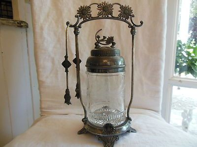 Antique Pickle Caster Etched Glass Insert Original Tongs as Is   eBay