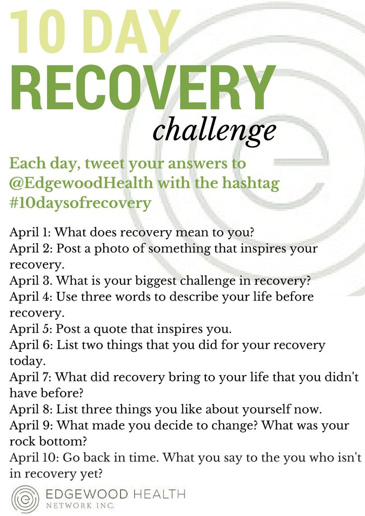 25 Addiction Recovery Tips and Quotes Join us on Twitter for our 10 day recovery challenge! Tweet your answer to the posted question to us each day @EdgewoodHealth! Let's show everyone the power of recovery! #10daysofrecovery