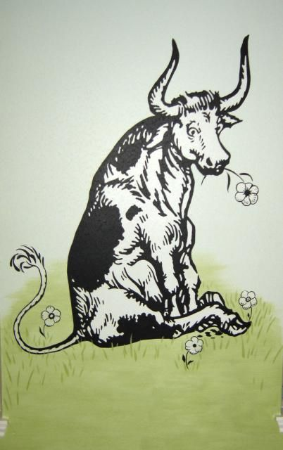 Ferdinand the Bull...happy with this flowers
