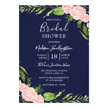 bfe17030b170 Navy   Blush Floral Watercolor Bridal Shower Card - invitations custom  unique diy personalize occasions