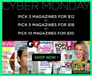 Pick Your Own Cyber Monday Magazine Sale! 100s of titles, pick 3 for $12, 4 for $18 and 10 for $30! Click for the details...Cyber Monday only!