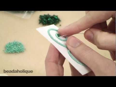 Video: learn the basic technique for a free form bead embroidery.  This technique gives a much different look and texture to your work.  #Seed #Bead #Tutorials
