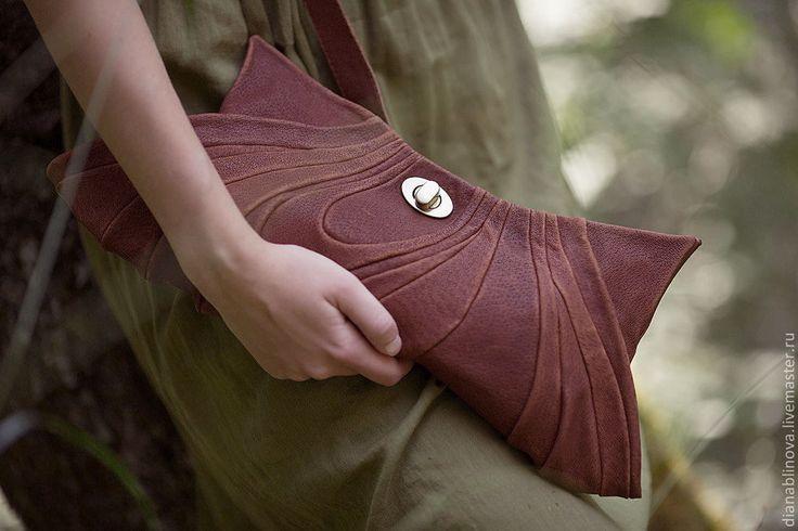 """Сумка кожаная """"Винтаж клатч"""" - коричневый,кожаный клатч,Кожаная сумка"""