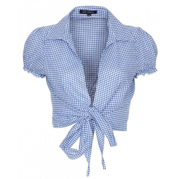 Gillighan's Island made this shirt cute, now let's dress it up modern and make it sexy. Women's Qed London Blue Gingham Crop Blouse