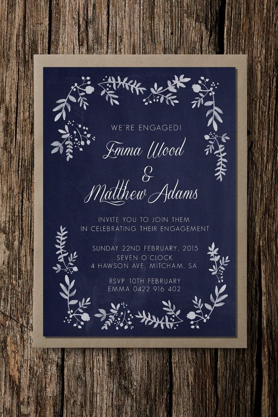 Engagement party invitation, Rustic Foliage, save the date, beautiful wedding invite, elegant wedding, navy, floral invite
