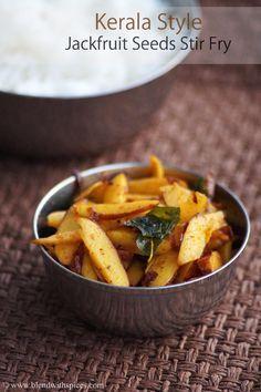 Chakkakuru Mezhukkupuratti Recipe - Kerala Style Jackfruit Seeds Stir Fry Recipe with Video | blendwithspices.com