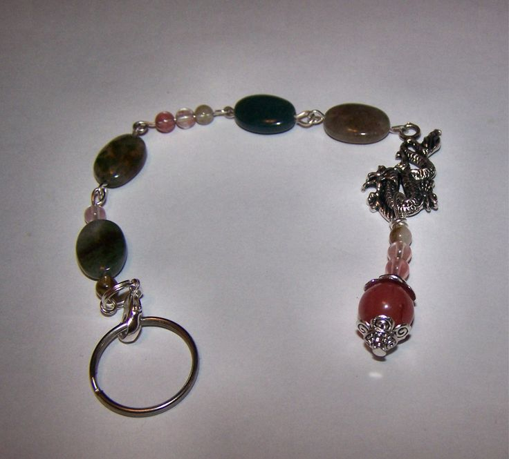 Handmade Dragon Tourmaline and Indian Agate Key Chain, Purse Dangle, Backpack Dangle, Pendant, Charm - pinned by pin4etsy.com