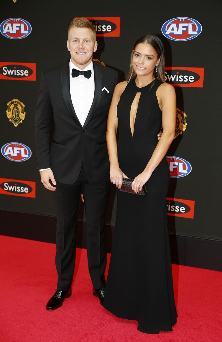 Dan Hanneberry and Katie Cody attend the 2015 Brownlow medal. Pic: Michael Klein.