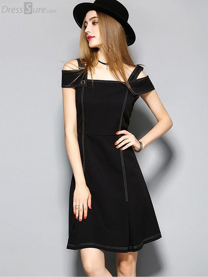 Buy Sexy Slash Neck Short Sleeve Black Skater Dress at DressSure.com Color:Black; Size:S, M, L, XL; Material:Assorted, Polyester; Style:Novelty; Silhouette:A-Line Dresses; Dresses Length:Above Knee, Mini; Sleeve Length:Short; Sleeve Style:Regular; Neckline:Slash neck; Waistline:Empire; Decoration:None; Pattern Type:Solid; Price: US$ 65.99