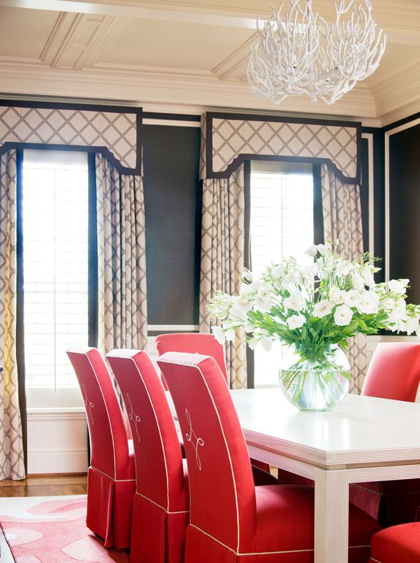LOVE This Formal Dining Room  Look At Those Coral Upholstered Chairs!