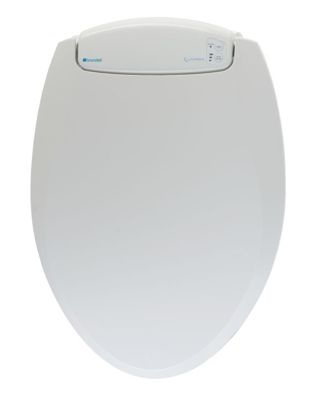 Brondell L60-R LumaWarm Heated Toilet Seat with LED Nightlight Round Front White Accessory Toilet Seat Round