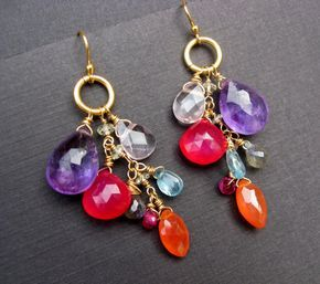 Cluster gemstone colorful earrings vibrant and by PureJoyArt