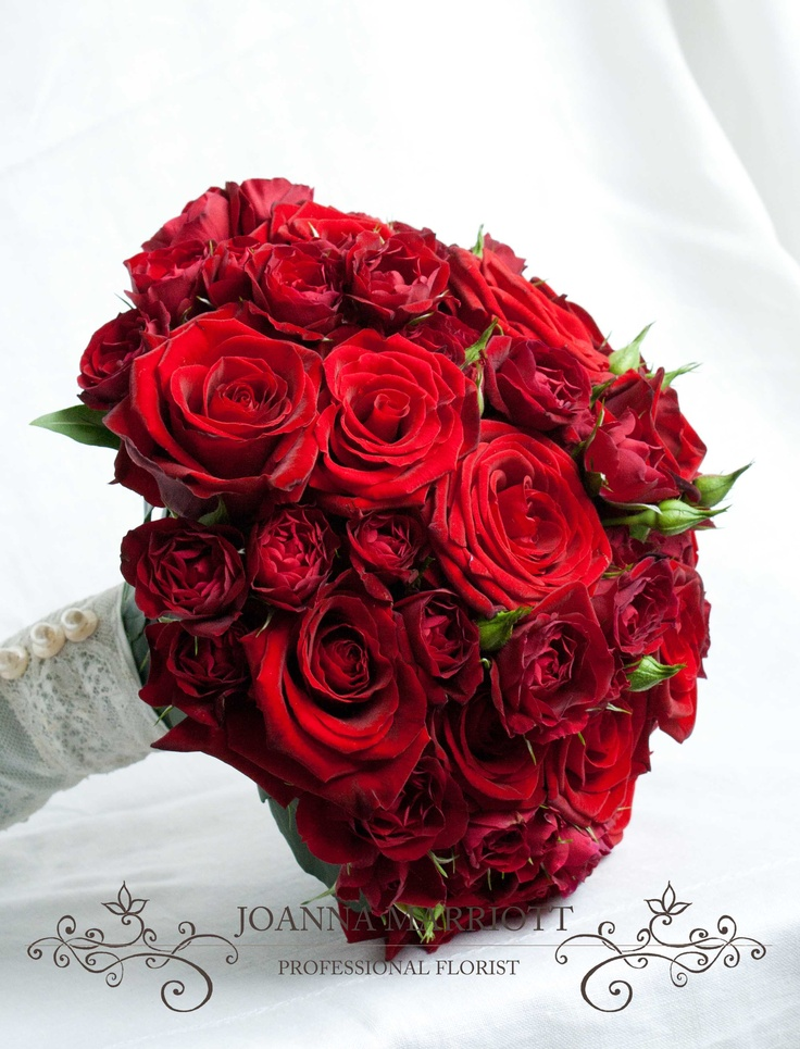 Red Roses Bridal Bouquet- standard and spray roses in the bouquet