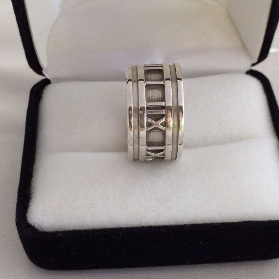 Authentic Tiffany & Co. 1995 Atlas Wide Band Roman Numeral 925 Sterling Silver Ring Beautiful incrediable New Condition size 7