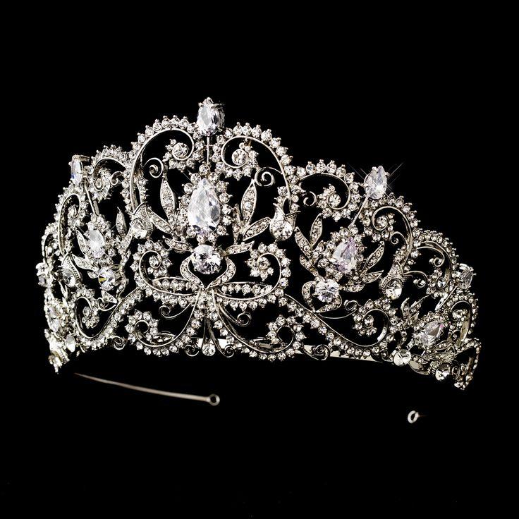"Stunning 3 1/2"" Rhinestone and CZ Wedding and Quinceanera Tiara -  Affordable Elegance Bridal -"