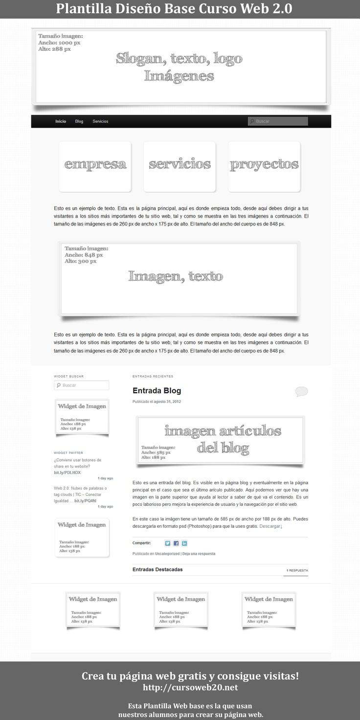 Plantilla Web Base para hacer tu web gratis sin conocimientos técnicos. Sigue los pasos de cursoweb20.net