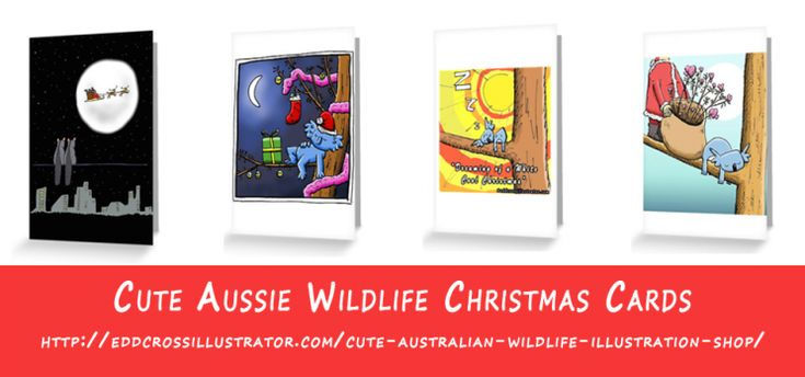 Ooh this week I have sold a few Possum Christmas Cards already so now is a great time for me to show you my selection of cute Australian wildlife Christmas cards. My illustrated range features koalas and possums.