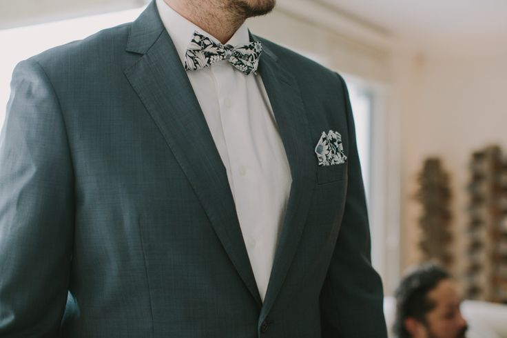 Soft grey suits paired with custom Krew bowties