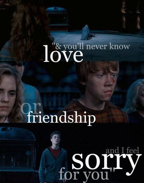 """one of my favorite quotes from harry potter, """"You're the one who is weak. You'll never know love or friendship, and i feel sorry for you."""" <3<3 -Harry Potter"""