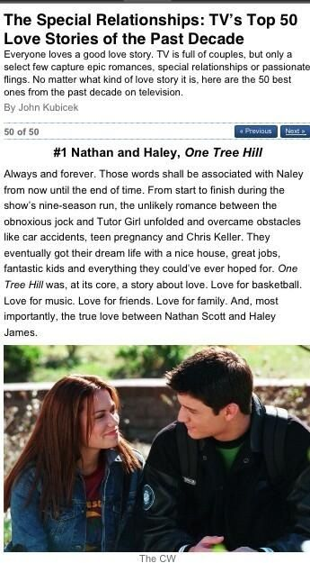 One Tree Hill - The #1 TV Couple of the past decade is Nathan and Haley