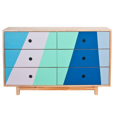 Recycled Timber Six Drawer Ocean - The Family Love Tree