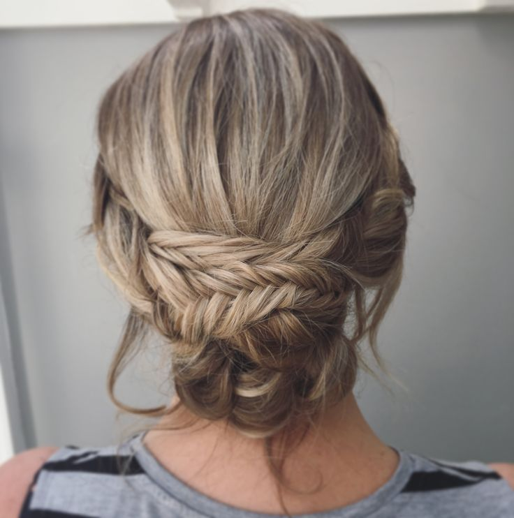 Boho Wedding Hair A Messy Relaxed Bridal Updo With Fishtail Braids And Plaits Woven Into