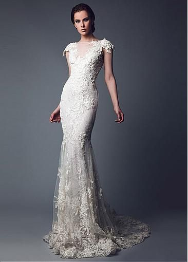 Gorgeous Tulle Bateau Neckline Mermaid Wedding Dresses With Beaded Lace Appliques
