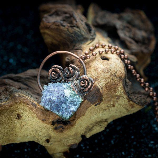Amethist - ketting met druzy amethist  - electroformed copper jewelry