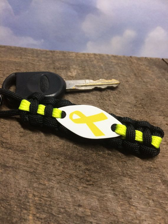 Yellow Awareness Ribbon key chain for Military Support Liver