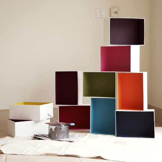 A perfect project for the couple which includes one carpenter and one painter!  Build boxes and go color crazy!