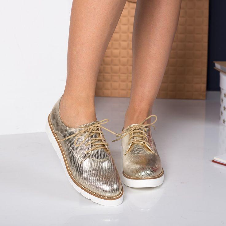 Pantofi dama aurii casual cu talpa plata