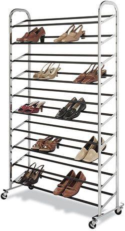 chrome supreme 50 pair shoe rack storage with wheels lighting banner