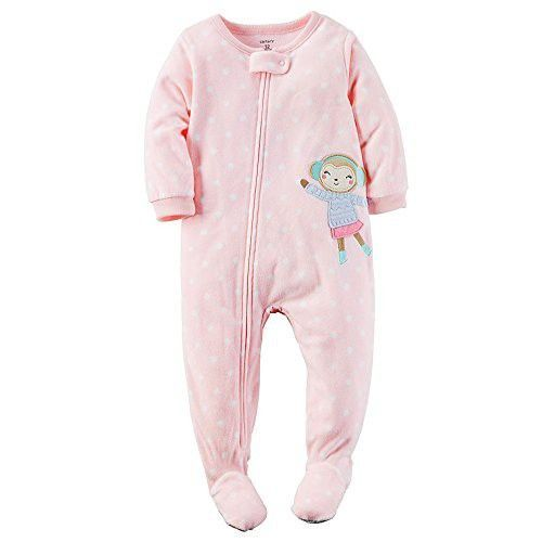 Carters Baby Girls Fleece Pajamas (4T, Light Pink Monkey) #babyBlanketSleeper