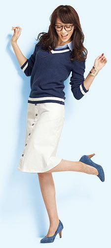 【ニッセン】レディースコーディネートシャツ衿付チルデンニット+すごく伸びる台形ひざ下前ボタンスカート+本革日本製スエードパンプス
