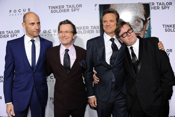 """Colin Firth Photos - (L-R) Actors Mark Strong, Gary Oldman, Colin Firth and Director Tomas Alfredson arrive at the premiere of Focus Features' """"Tinker, Tailor, Soldier, Spy"""" at Arclight Cinema's Cinerama Dome on December 6, 2011 in Hollywood, California. - Premiere Of Focus Features' """"Tinker, Tailor, Soldier, Spy"""" - Red Carpet"""