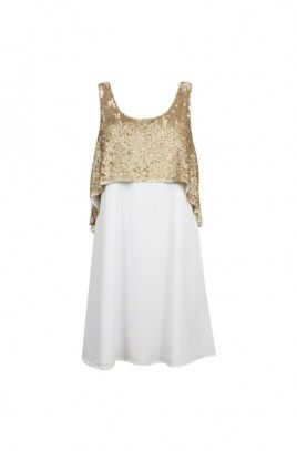 Talhia Sequin Overlay Dress -WHITE/GOLD-8