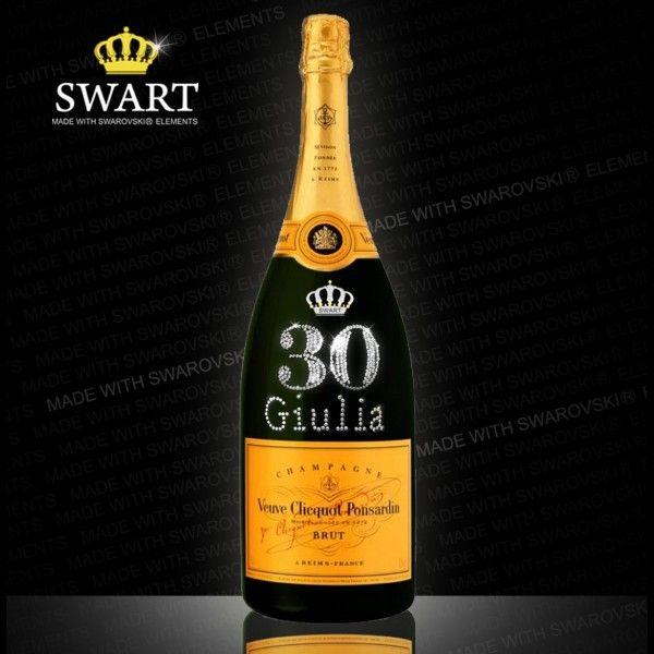 Champagne Clicquot Magnum da 1,5 litri. Bottiglia personalizzabile con Swarovski.