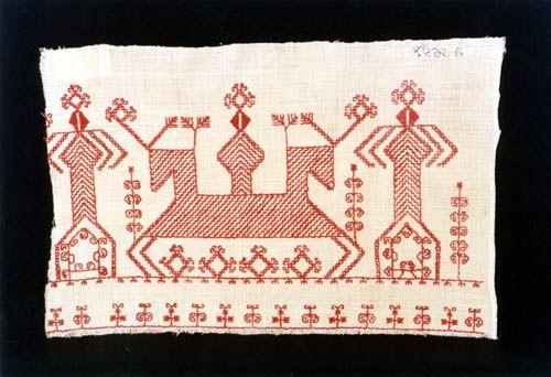 Karelian embroidery, double sided running stitch, Aunuksen kirjonta 1800-l