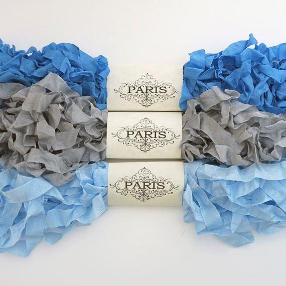 Seam Binding Ribbon Blue Silver Rayon Shabby Crinkled