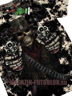 Новейшая 3 Д футболка Скелет и два револьвера в стиле милитари.