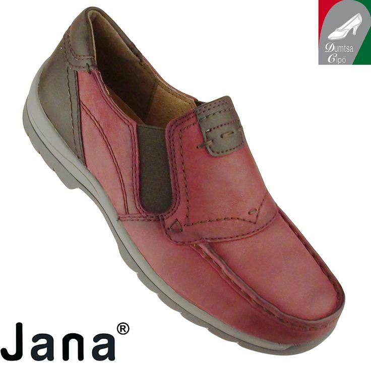 """Cikkszám: 8-24621-25 549 bordó kombi  Kényelmes és egyben divatos is ez a pillekönnyű női bőr cipő a Janától. A természetes anyagokkal cserzett  bőr, a párnázott talpbélés egyaránt szolgálják a láb egészségét és maximális komfortérzetét. A modell mérsékelten vízálló, valamint """"H"""" szélességű, ezért szélesebb lábfejre ajánlott.  anyaga:  felsőrész: bőr  belsőrész: bőr  talp: szintetikus  sarokmagasság: 2,5 cm  szín: bordó kombi  Ár: 22 990 Ft"""