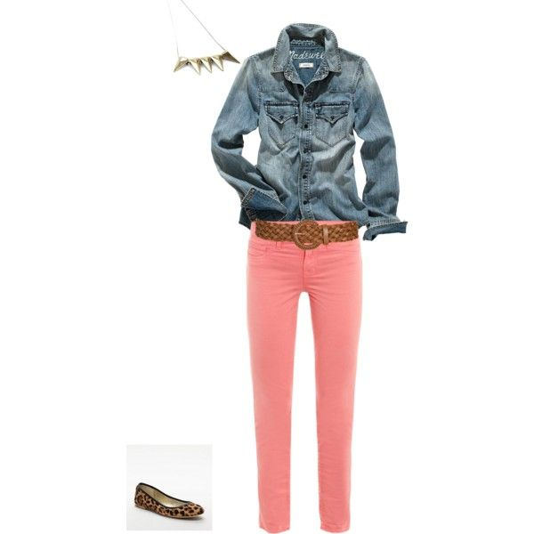 Coral Pants Outfit by blondebria on Polyvore featuring Madewell, J Brand, Coach, Wet Seal, stud necklace, jean shirt, cheetah print ballet flats, coral pants and tan braided belt