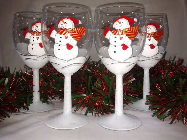 Christmas Snowmen hand painted wine glasses by www.facebook.com/girlsnightinglassware
